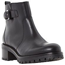 Buy Dune Pyper Block Heeled Ankle Boots, Black Leather Online at johnlewis.com