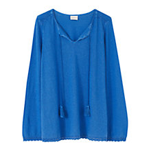 Buy East Lace Detail Hemp Top, Cobalt Online at johnlewis.com