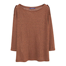 Buy Violeta by Mango Linen-Blend T-Shirt, Dark Brown Online at johnlewis.com