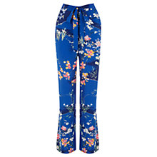 Buy Oasis Mito Garden Wide Leg Trousers, Blue/Multi Online at johnlewis.com