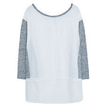 Buy Violeta by Mango Contrast Sleeve T-Shirt, Natural White Online at johnlewis.com
