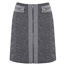 Buy Warehouse Textured Zip Skirt, Light Grey Online at johnlewis.com
