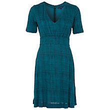 Buy French Connection Textured Check Dress, Teal/Black Online at johnlewis.com