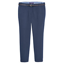 Buy Violeta by Mango Cotton Blend Belted Trousers, Navy Online at johnlewis.com