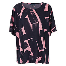 Buy French Connection Brushstrokes T-Shirt, Nocturnal/Blush Online at johnlewis.com