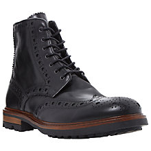Buy Bertie Cyrus Leather Brogue Boots, Black Online at johnlewis.com