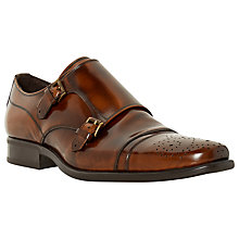 Buy Bertie Reggi Leather Brogue Monk Shoes, Brown Online at johnlewis.com