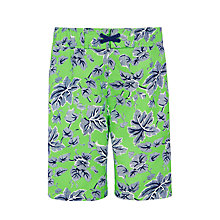 Buy John Lewis Boys' Greenhouse Print Boardie Swim Shorts, Green Online at johnlewis.com