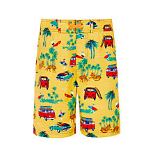 Buy John Lewis Boys' Camper Van Print Board Shorts, Yellow Online at johnlewis.com