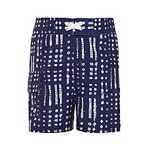 Buy John Lewis Boys' Printed Board Shorts, Indigo Online at johnlewis.com