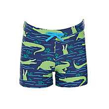 Buy John Lewis Boys' Crocodile Print Swimming Trunks, Navy Online at johnlewis.com