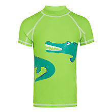 Buy John Lewis Boys' Croc Print Short Sleeve Rash Vest, Green Online at johnlewis.com