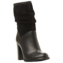 Buy Dune Ryley Rouched Mixed Material Calf Boot, Black Leather Online at johnlewis.com