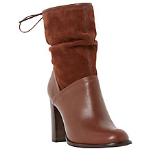 Buy Dune Ryley Rouched Mixed Material Calf Boot, Brown Leather Online at johnlewis.com