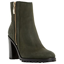 Buy Dune Prett Cleated Sole Heeled Ankle Boot, Khaki Leather Online at johnlewis.com