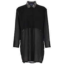 Buy French Connection Diamond Embellished Oversized Shirt, Black Online at johnlewis.com