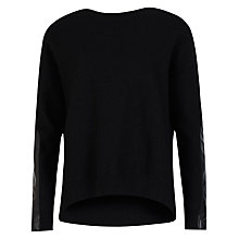 Buy Ted Baker Phillia Leather Trim Wool Jumper, Black Online at johnlewis.com