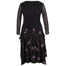 Buy Chesca Embroidered Pleat Dress, Black Online at johnlewis.com