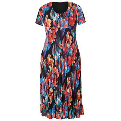 Chesca Abstract Leaf Pleat Dress, Black/Red