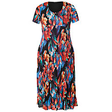 Buy Chesca Abstract Leaf Pleat Dress, Black/Red Online at johnlewis.com