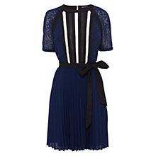 Buy Karen Millen Graphic Lace Insert Pleat Dress, Blue/Multi Online at johnlewis.com
