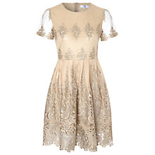 Buy True Decadence Lace Skater Dress, Gold Online at johnlewis.com