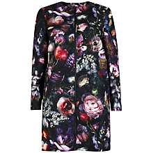 Buy Ted Baker Carleih Shadow Floral Cocoon Coat, Mid Grey Online at johnlewis.com