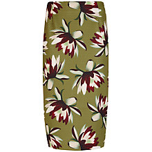 Buy Ted Baker Keysha Waterlily Print Midi Skirt, Khaki Online at johnlewis.com