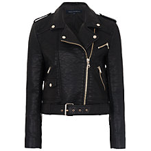 Buy French Connection Generation Faux Leather Biker Jacket, Black Online at johnlewis.com