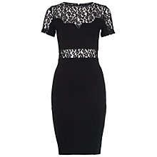 Buy French Connection Animal Lace Pencil Dress, Black Online at johnlewis.com