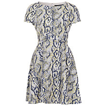 Buy French Connection Soho Boa Fit and Flare Dress, Acid Blonde Online at johnlewis.com