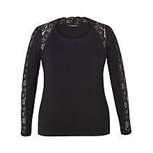Buy Chesca Lace Trim Long Sleeve T-Shirt, Black Online at johnlewis.com
