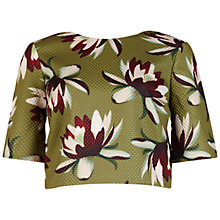 Buy Ted Baker Yemma Waterlily Print Crop Top, Khaki Online at johnlewis.com