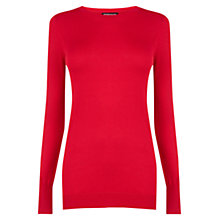 Buy Warehouse Button Cuff Jumper, Bright Red Online at johnlewis.com