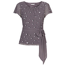 Buy Jacques Vert Pearl Spot Belted Blouse, Purple Online at johnlewis.com