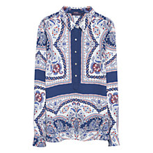 Buy Violeta by Mango Floral Print Blouse, Blue/Multi Online at johnlewis.com