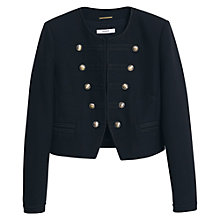 Buy Mango Military Embroidered Jacket, Black Online at johnlewis.com