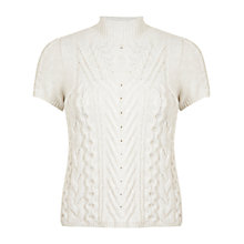 Buy Miss Selfridge Cable Knit Jumper, Cream Online at johnlewis.com
