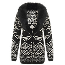 Buy Miss Selfridge Faux Fur Collar Patterned Cardigan, Black Online at johnlewis.com