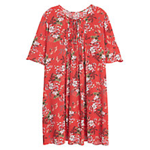 Buy Mango Floral Print Pleated Dress, Medium Orange Online at johnlewis.com
