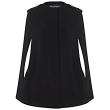 Buy Miss Selfridge Double Crepe Cape Coat, Black Online at johnlewis.com
