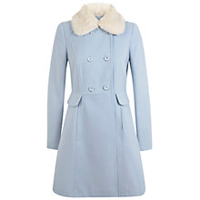 Buy Miss Selfridge Double Breasted Skirted Coat, Pale Blue Online at johnlewis.com