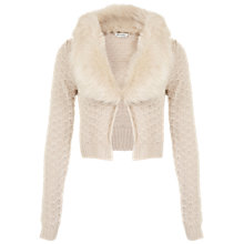 Buy Miss Selfridge Faux Fur Collar Cardigan, Blush Online at johnlewis.com