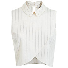 Buy Miss Selfridge Stripe Collar Wrap Crop Top, White Online at johnlewis.com