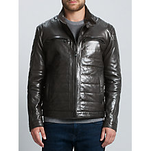 Buy BOSS Nascin Leather Jacket, Black Online at johnlewis.com