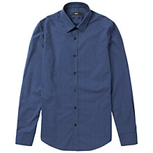 Buy BOSS Ronni Slim Fit Allover Print Shirt, Dark Blue Online at johnlewis.com