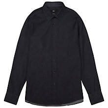 Buy BOSS Lukas Regular Fit Denim Optic Print Shirt, Dark Blue Online at johnlewis.com