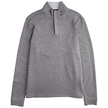 Buy BOSS Piceno Jersey Funnel Neck Jumper, Mid Grey Online at johnlewis.com