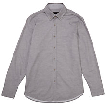 Buy BOSS Leonard Regular Fit Micro Melange Shirt, Mid Grey Online at johnlewis.com