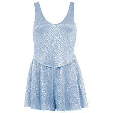 Buy Miss Selfridge Petite Pinny Playsuit, Pale Blue Online at johnlewis.com
